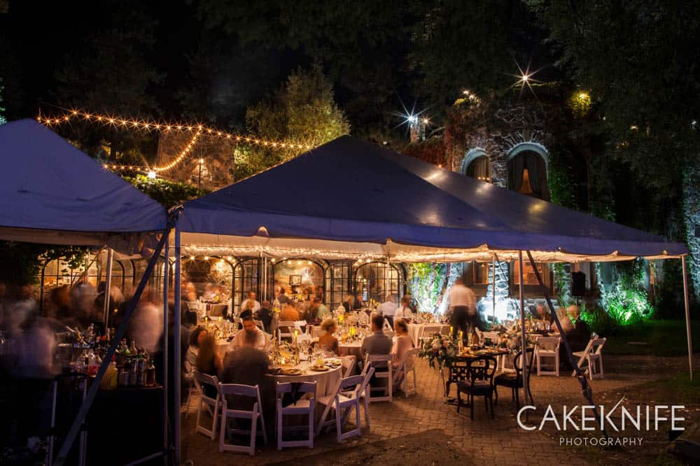 Outdoor wedding reception at the Dunafon Castle